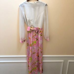 Vintage 60s white maxi psychedelic print dress